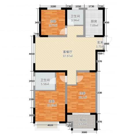 启星世纪广场3室2厅2卫1厨130.00㎡户型图