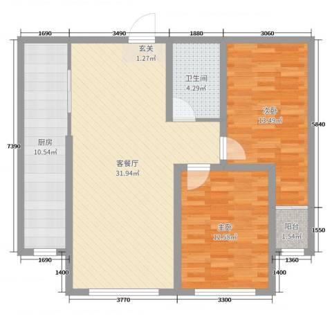 睿瀛豪庭2室2厅1卫1厨90.00㎡户型图
