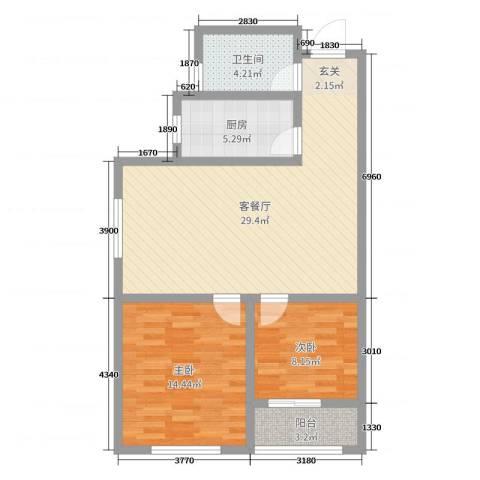 法苑小区2室2厅1卫1厨81.00㎡户型图