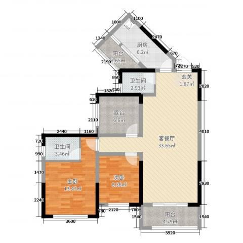 旭辉香樟公馆2室2厅2卫1厨107.00㎡户型图
