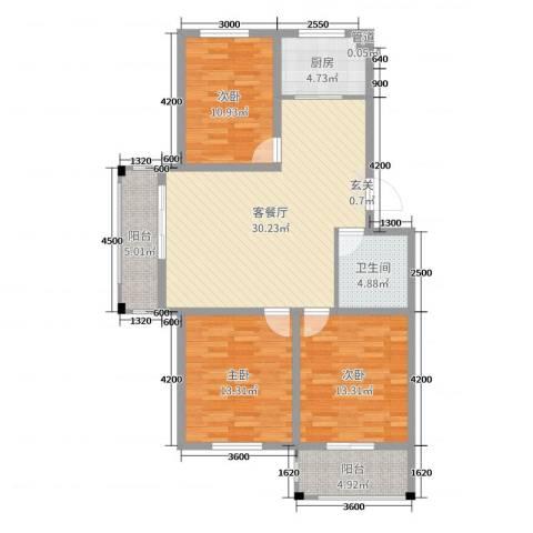 首创新城花园3室2厅1卫1厨123.00㎡户型图