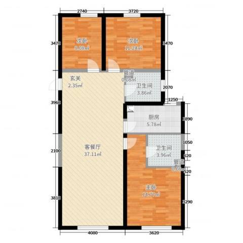 哈尔滨万达城3室2厅2卫1厨128.00㎡户型图