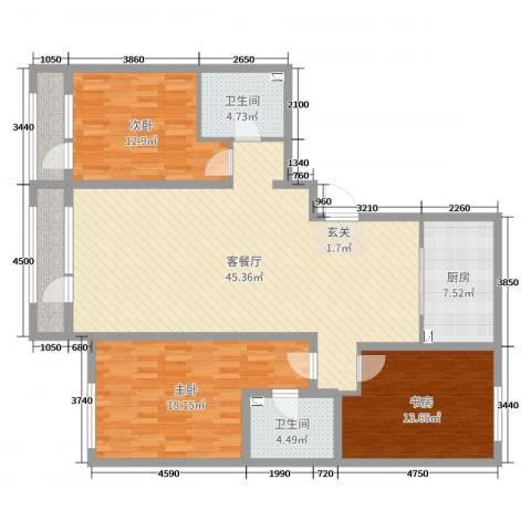 新华联雅园3室2厅2卫1厨142.00㎡户型图