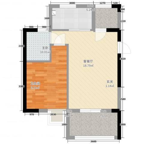 东方蓝城一号1室2厅1卫1厨43.18㎡户型图
