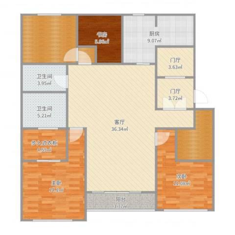 万科翡翠滨江3室1厅2卫1厨145.00㎡户型图