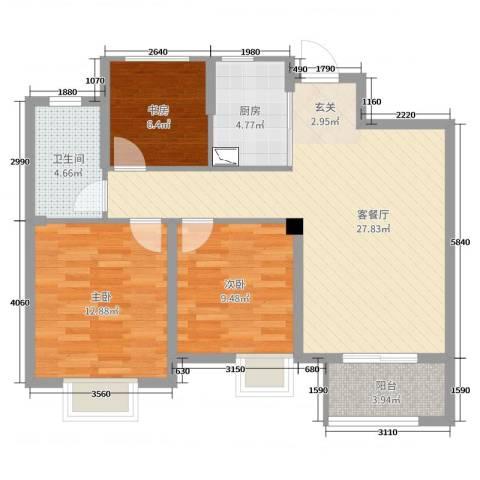景瑞上府3室2厅1卫1厨89.00㎡户型图