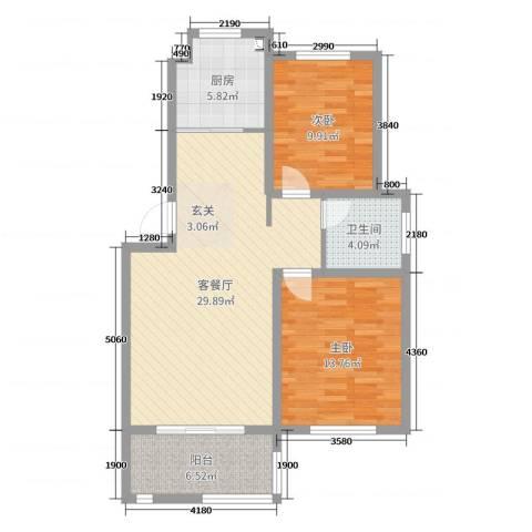 格林春天2室2厅1卫1厨88.00㎡户型图