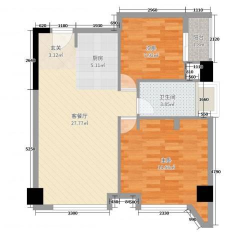 四海城2室2厅1卫0厨73.00㎡户型图