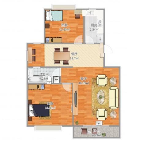 金地湾流域2室1厅1卫1厨103.00㎡户型图