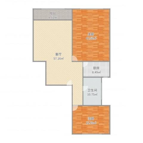 金地湾流域2室1厅1卫1厨186.00㎡户型图