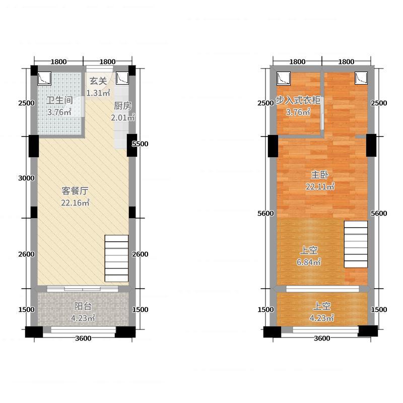 力高国际城42.74㎡25号楼LOFT公馆买一赠一户型1室1厅1卫1厨