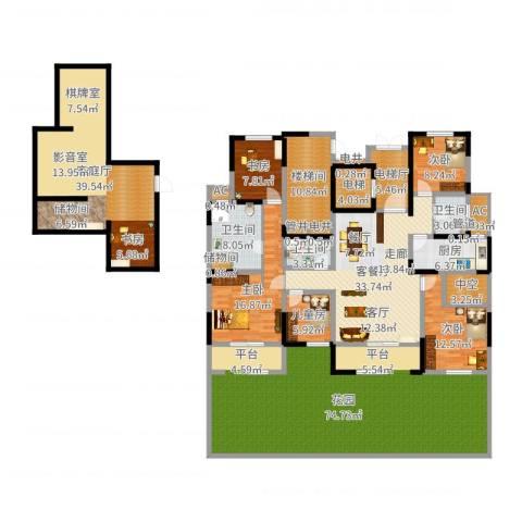 金地湾流域5室2厅3卫1厨311.00㎡户型图