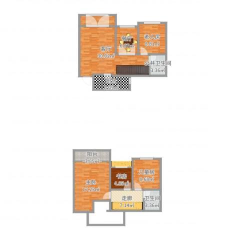城海滨江春城一期4室2厅1卫1厨123.00㎡户型图
