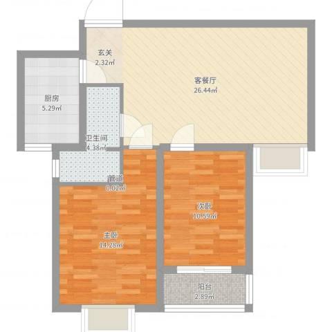 海�印象城2室2厅1卫1厨80.00㎡户型图