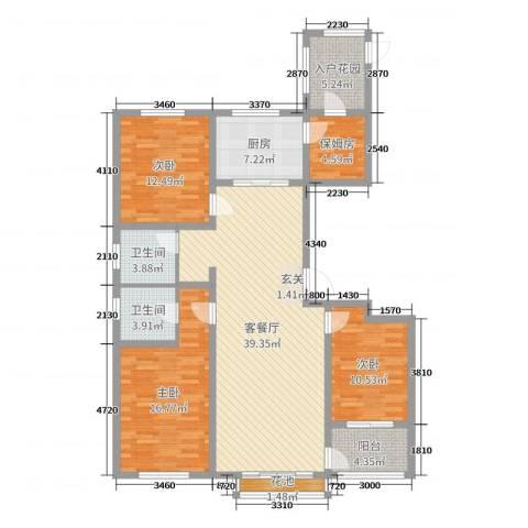 玫瑰镇3室2厅2卫1厨137.00㎡户型图