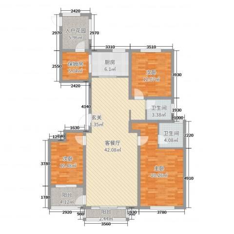 玫瑰镇3室2厅2卫1厨145.00㎡户型图