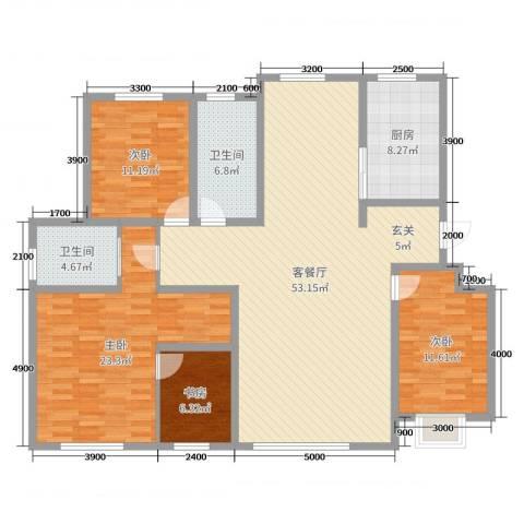 卓扬北湖湾4室2厅2卫1厨180.00㎡户型图