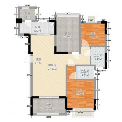 翰林国际2室2厅2卫1厨97.00㎡户型图
