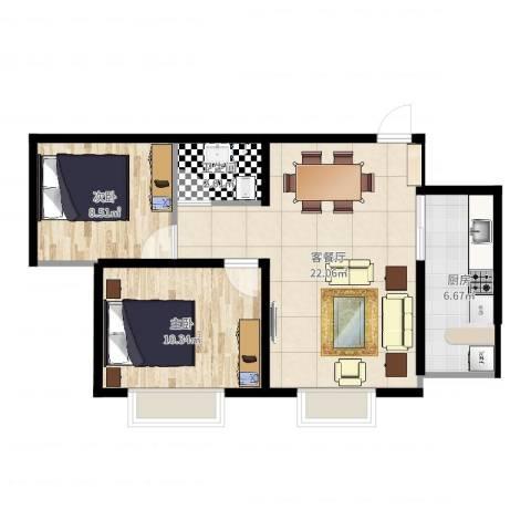 攀华未来城2室2厅1卫1厨63.00㎡户型图