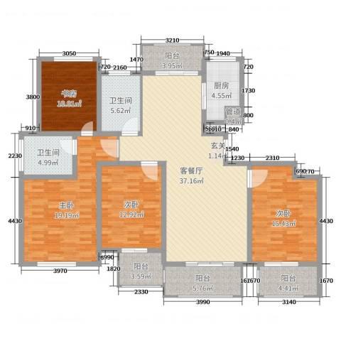 御品世家4室2厅2卫1厨140.00㎡户型图