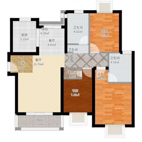 梵顿公馆3室2厅2卫1厨110.00㎡户型图