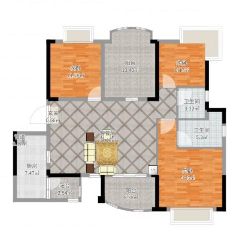 咸宁・碧桂园3室2厅2卫1厨137.00㎡户型图
