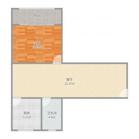 国和一村1室1厅1卫1厨81.00㎡户型图