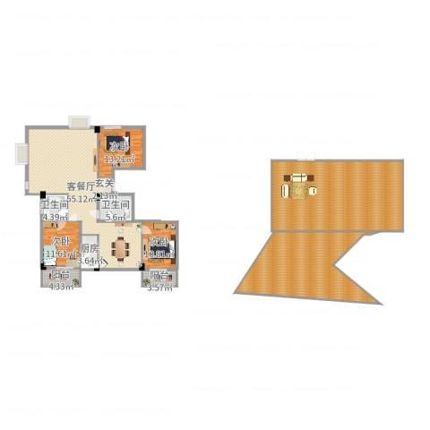 云龙海岸花园三期3室2厅2卫1厨280.00㎡户型图
