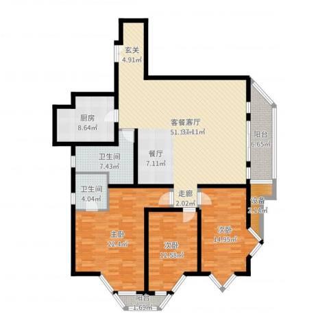 新都花园一期3室2厅2卫1厨165.00㎡户型图