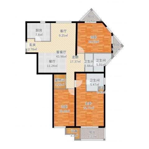 新都花园一期3室2厅2卫1厨168.00㎡户型图