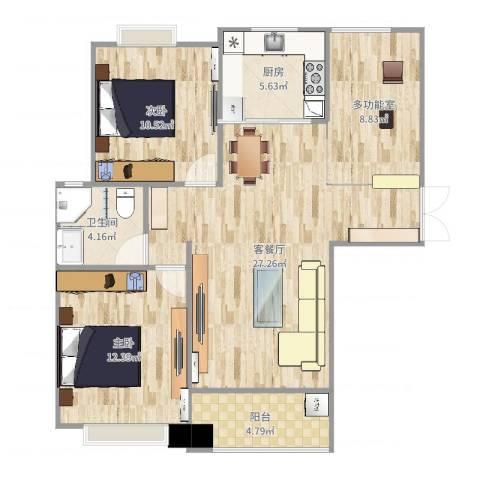 利港银河广场2室2厅1卫1厨97.00㎡户型图