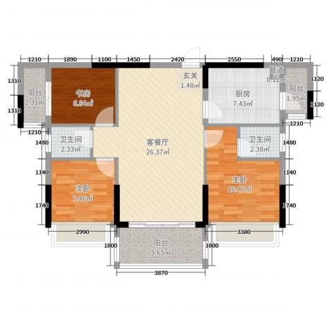 格林春天3室2厅2卫1厨94.00㎡户型图