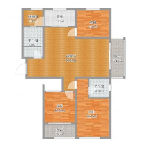 滨河阳光3室2厅2卫1厨125.00㎡户型图
