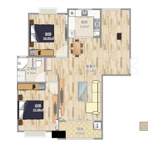 利港银河广场2室2厅1卫1厨92.00㎡户型图