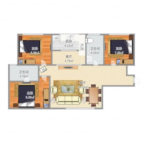 红星海青屿蓝3室2厅2卫1厨82.00㎡户型图