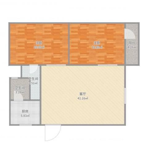 华盛大厦2室1厅2卫1厨121.00㎡户型图
