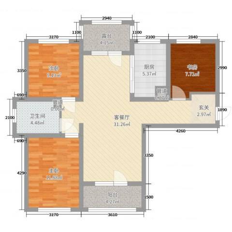 香邑溪谷3室2厅1卫1厨108.00㎡户型图