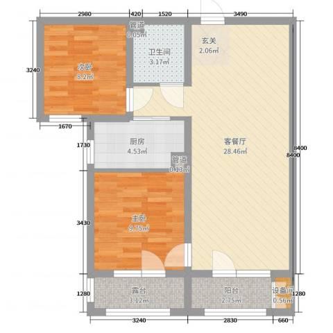香邑溪谷2室2厅1卫1厨83.00㎡户型图