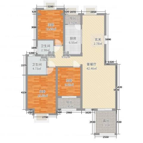 香邑溪谷3室2厅2卫1厨129.00㎡户型图
