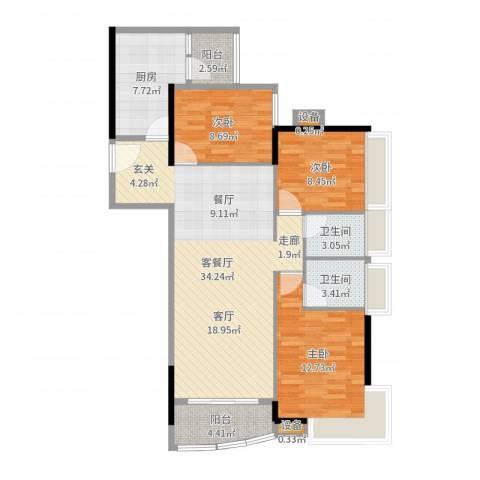 华景新城陶然庭苑3室2厅2卫1厨107.00㎡户型图