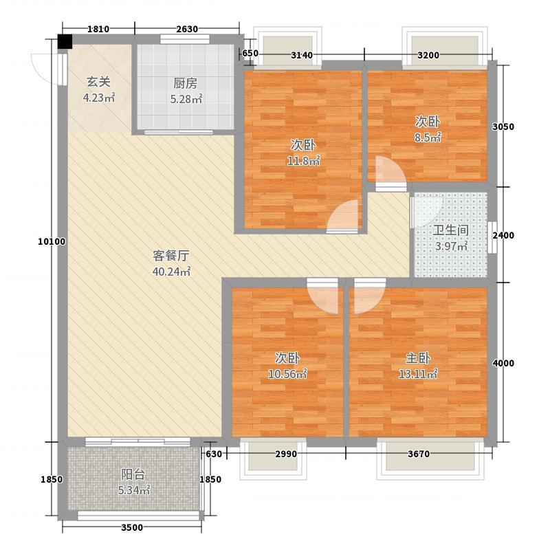 海亮明珠123.50㎡31号楼L户型4室4厅1卫1厨