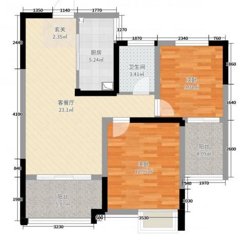 梧桐香郡2室2厅1卫1厨81.00㎡户型图