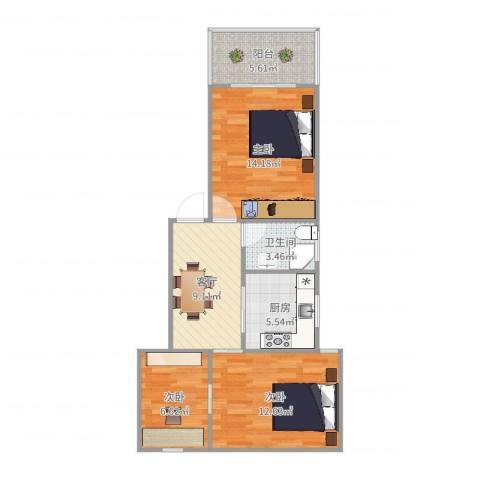 金杨九街坊3室1厅1卫1厨71.00㎡户型图