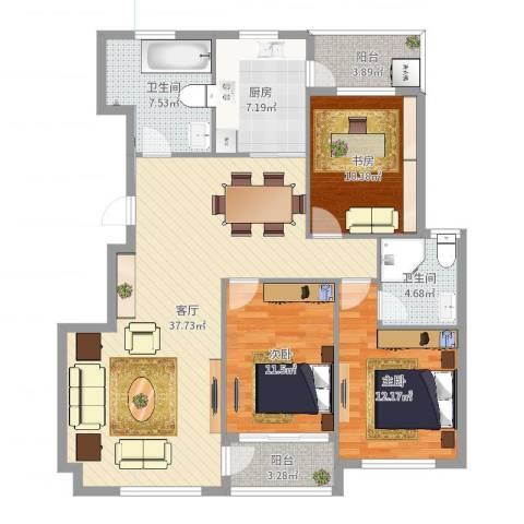 天沁家园3室1厅2卫1厨123.00㎡户型图