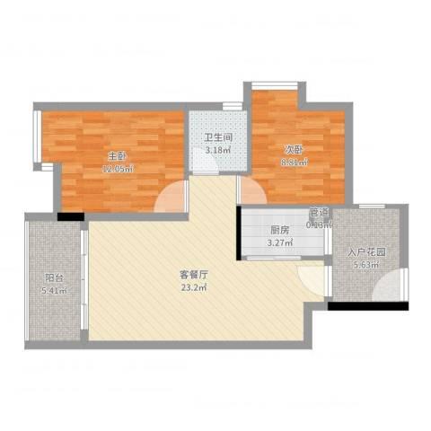 阜丰豪庭2室2厅1卫1厨77.00㎡户型图