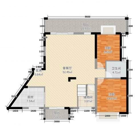 华韵城市海岸二期2室2厅1卫1厨242.00㎡户型图