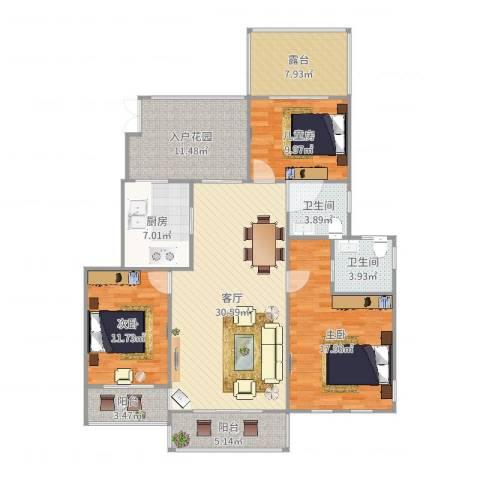 恒升紫悦府3室1厅2卫1厨141.00㎡户型图