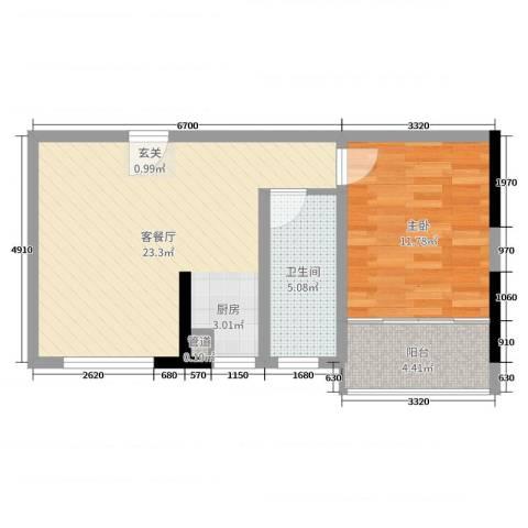 美泰天韵1室2厅1卫0厨55.00㎡户型图