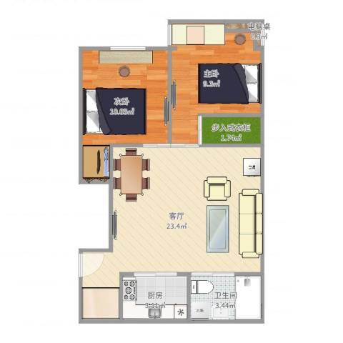 控江五村2室1厅1卫1厨64.00㎡户型图