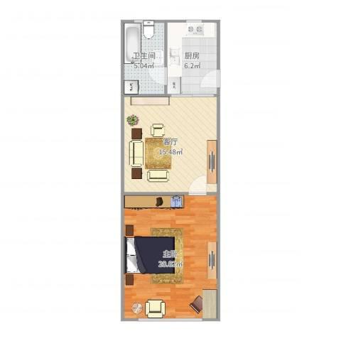 控江五村1室1厅1卫1厨58.00㎡户型图